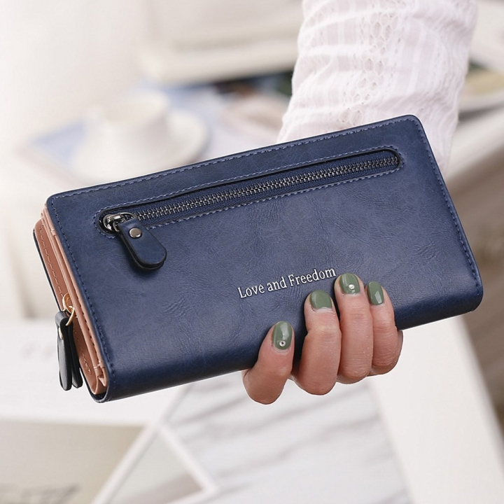 The New Wallet Female Long Section Zipper Soft Bread Buckle 2 Fold Ms Wallet Hand Bag blue one size