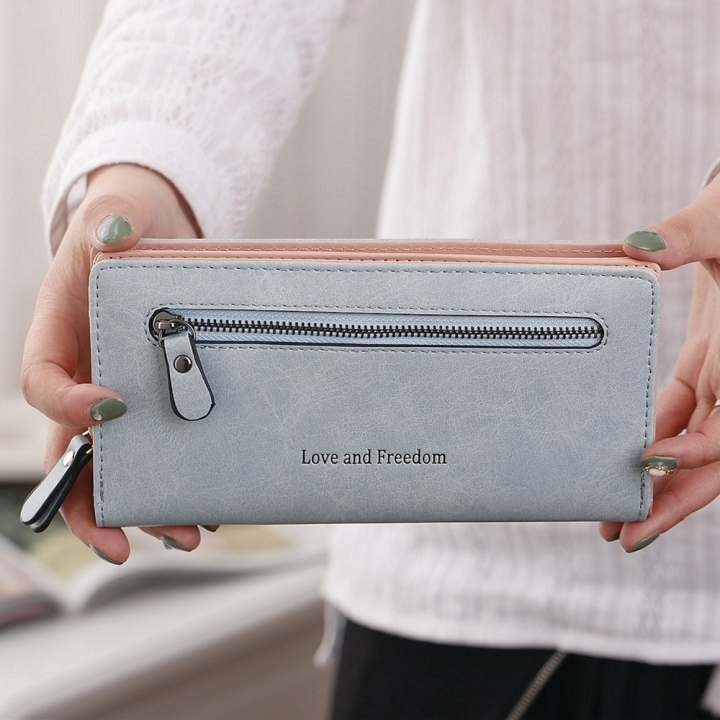 The New Wallet Female Long Section Zipper Soft Bread Buckle 2 Fold Ms Wallet Hand Bag ligth green one size