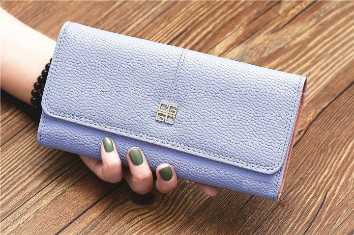 The New Purse Ms Wallet Western Style Fashion Hand Bag Female Wallet Wallet sky blue one size