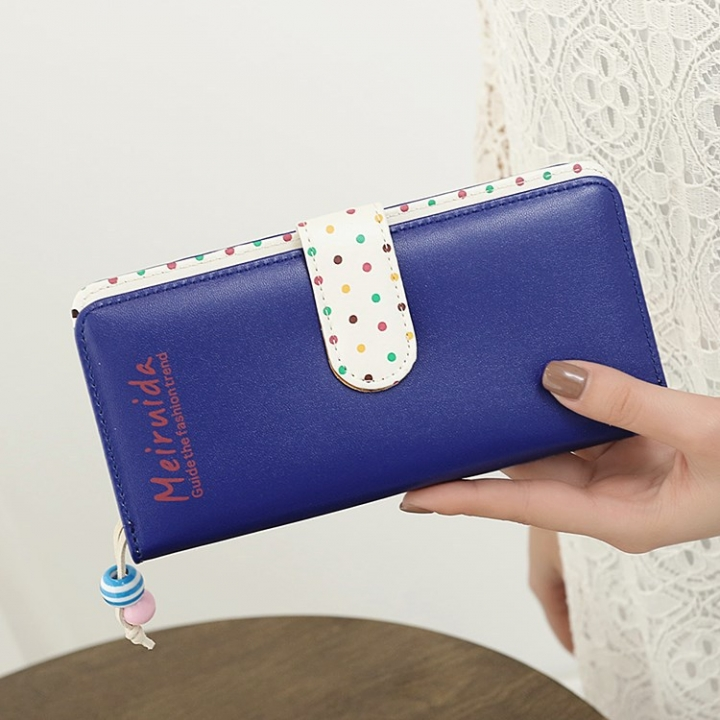 Small Beads Ornaments Lovely Wave Point Inner Layer Two Ffold Buckle Zipper Long Section Wallet dark blue one size