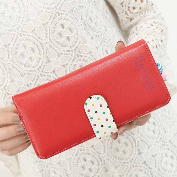 Small Beads Ornaments Lovely Wave Point Inner Layer Two Ffold Buckle Zipper Long Section Wallet watermelon red one size
