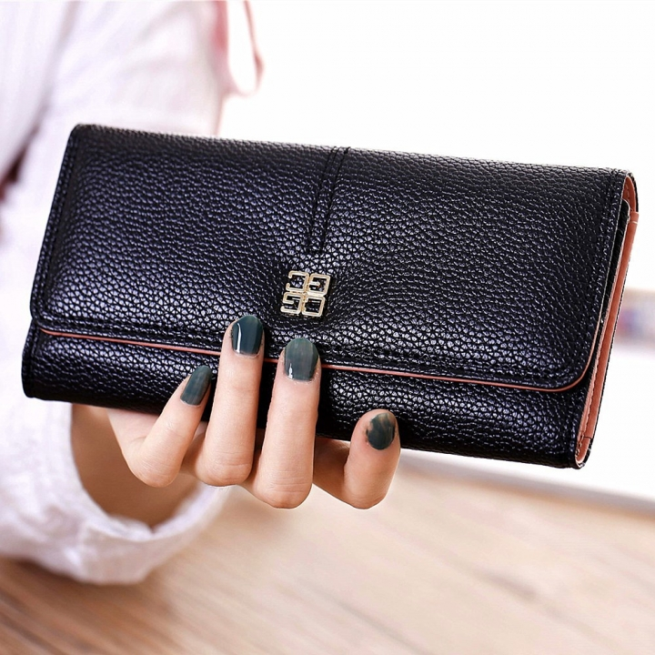 Ms Wallet Long Section Western Style Fashion Multifunction Buckle Soft Wallet Female Wallet black one size