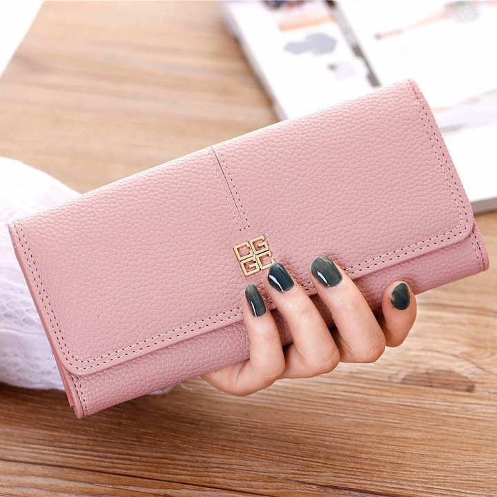 Ms Wallet Long Section Western Style Fashion Multifunction Buckle Soft Wallet Female Wallet pink one size