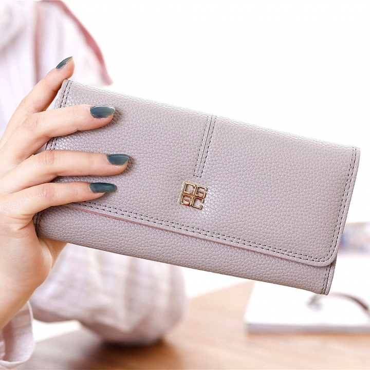 Ms Wallet Long Section Western Style Fashion Multifunction Buckle Soft Wallet Female Wallet gray one size