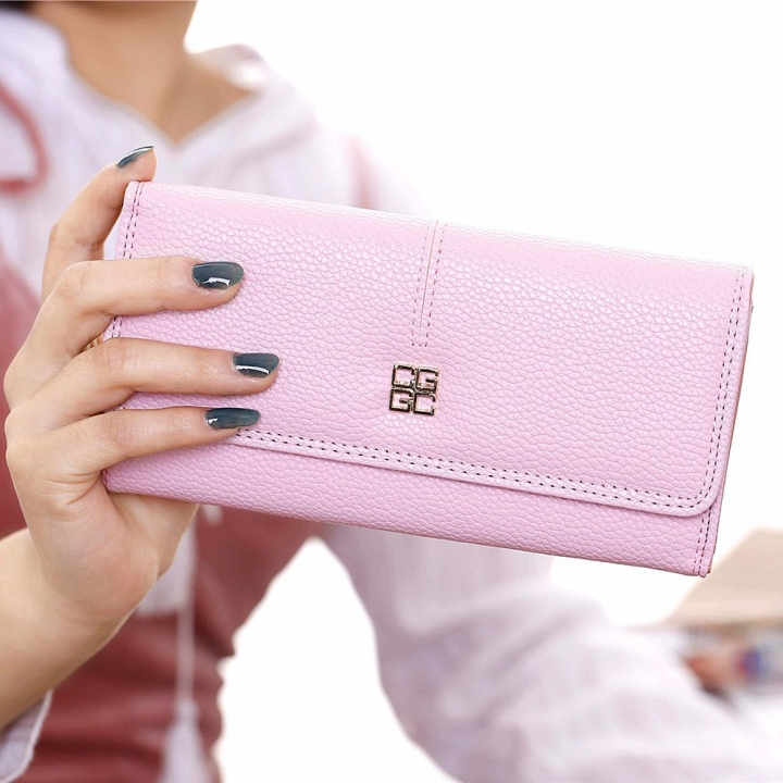 Ms Wallet Long Section Western Style Fashion Multifunction Buckle Soft Wallet Female Wallet ligth pink one size