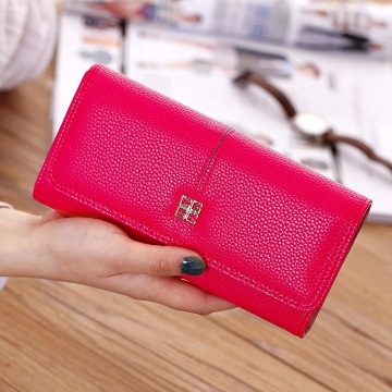 Ms Wallet Long Section Western Style Fashion Multifunction Buckle Soft Wallet Female Wallet rose red one size