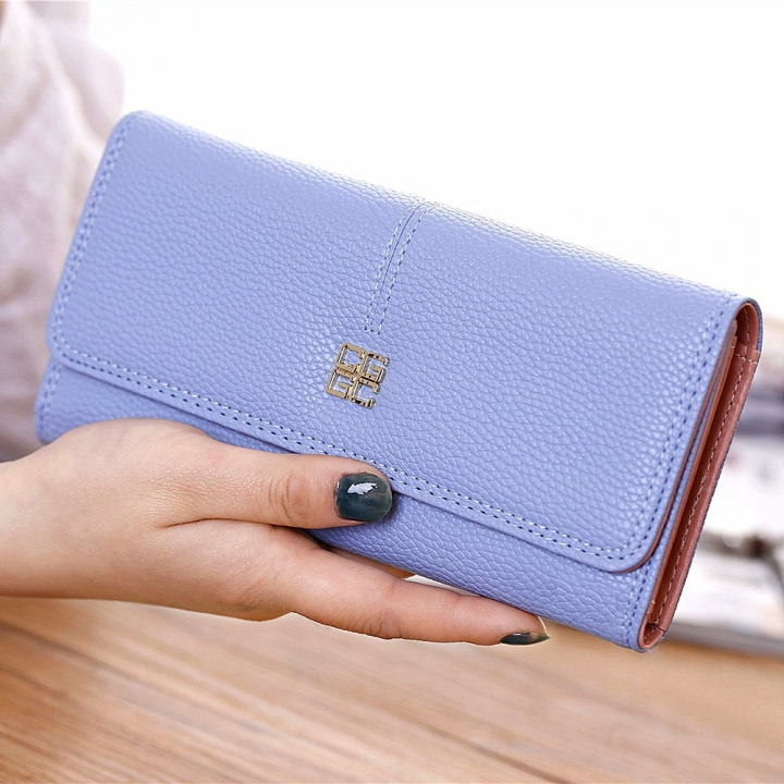 Ms Wallet Long Section Western Style Fashion Multifunction Buckle Soft Wallet Female Wallet sky blue one size