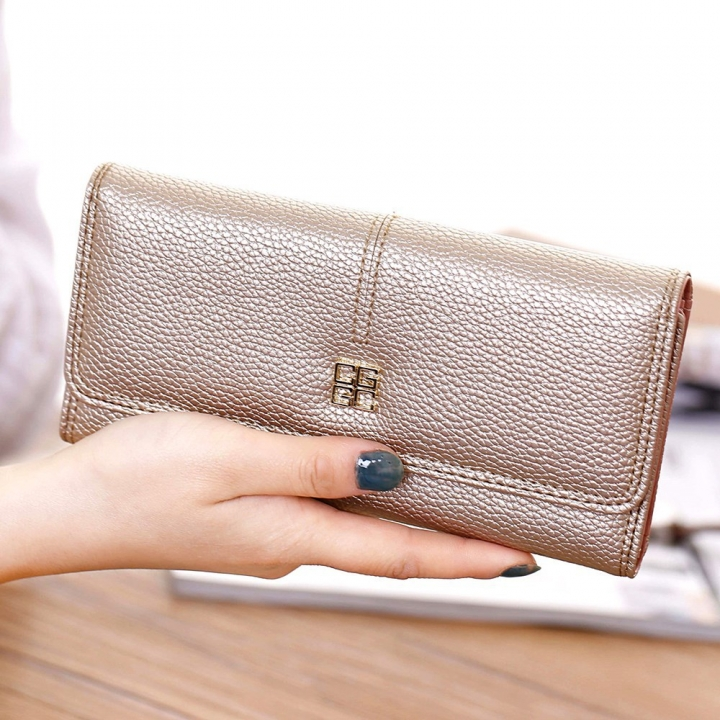 Ms Wallet Long Section Western Style Fashion Multifunction Buckle Soft Wallet Female Wallet golden one size