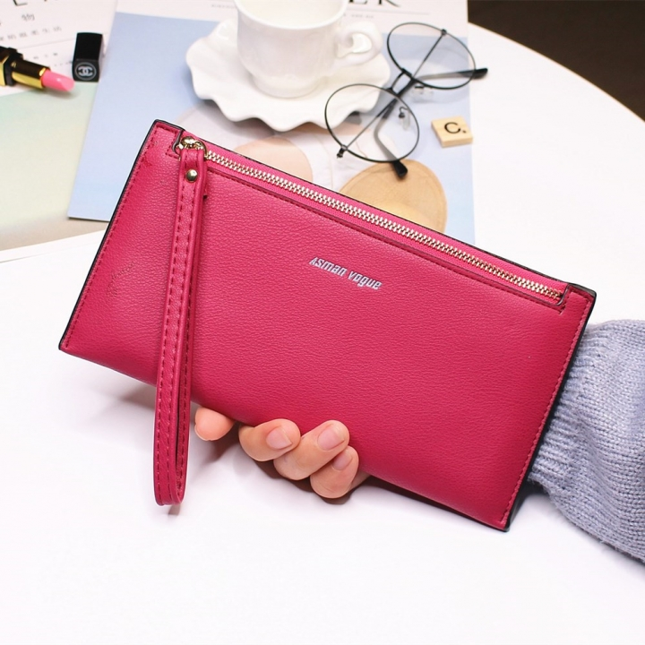 The New Hand Bag Ms wallet Long Section Zipper Quality Portable Female Wallet Package rose red one size