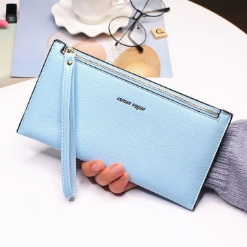 The New Hand Bag Ms wallet Long Section Zipper Quality Portable Female Wallet Package ligth green one size