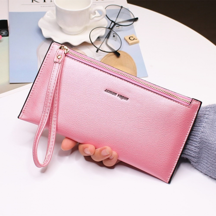 The New Hand Bag Ms wallet Long Section Zipper Quality Portable Female Wallet Package pink red one size