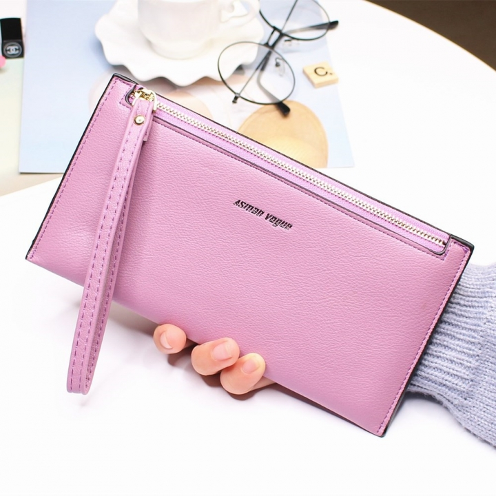 The New Hand Bag Ms wallet Long Section Zipper Quality Portable Female Wallet Package purple one size