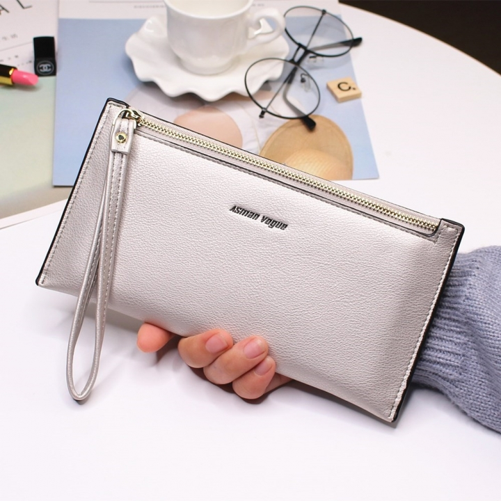 The New Hand Bag Ms wallet Long Section Zipper Quality Portable Female Wallet Package Silver gray one size