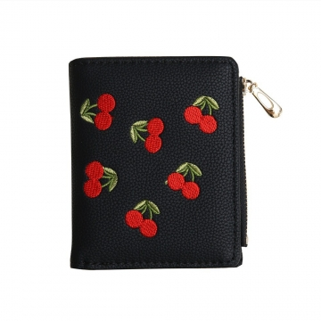 Small Wallet Female Short Section Embroidery Mini Student Small Fresh Fold Ultra Thin Coin Purse black one size