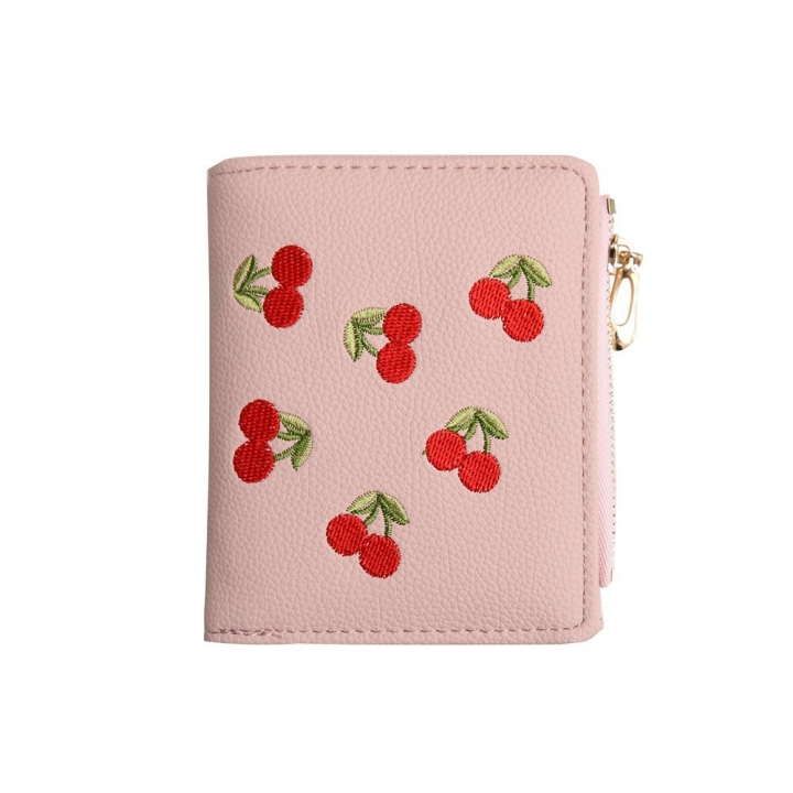 Small Wallet Female Short Section Embroidery Mini Student Small Fresh Fold Ultra Thin Coin Purse pink one size