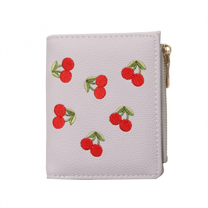Small Wallet Female Short Section Embroidery Mini Student Small Fresh Fold Ultra Thin Coin Purse gray one size
