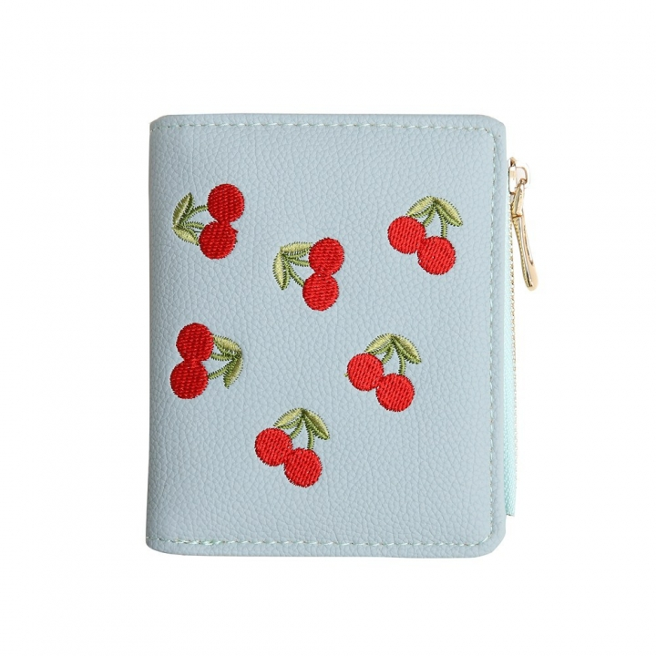 Small Wallet Female Short Section Embroidery Mini Student Small Fresh Fold Ultra Thin Coin Purse ligth green one size