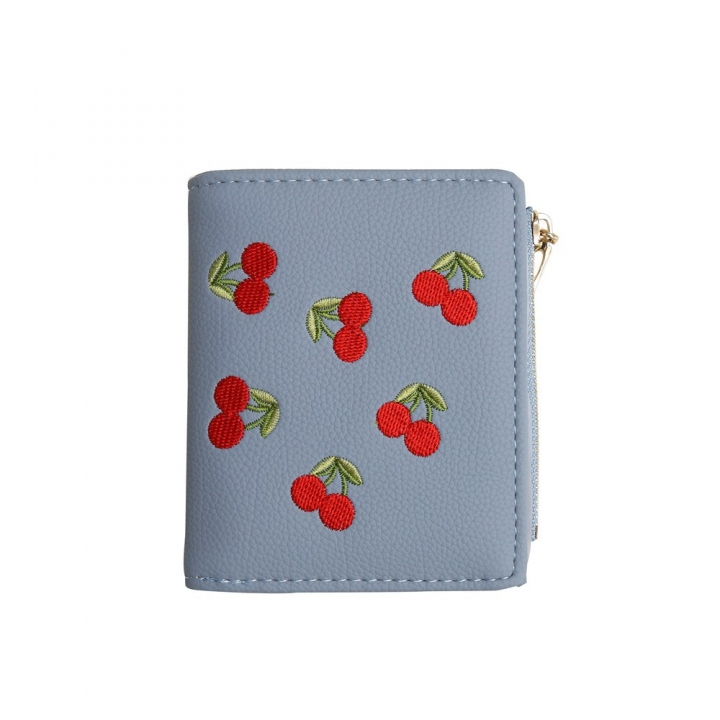 Small Wallet Female Short Section Embroidery Mini Student Small Fresh Fold Ultra Thin Coin Purse sky blue one size