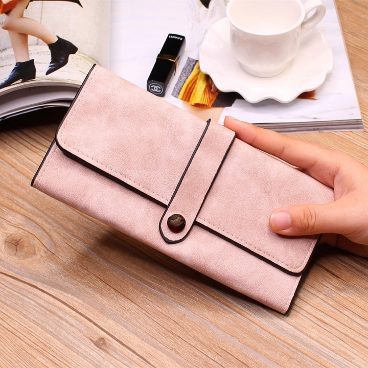Ms Wallet Long Section Female Wallet Buckle Student Wallet Campus Style pink one size