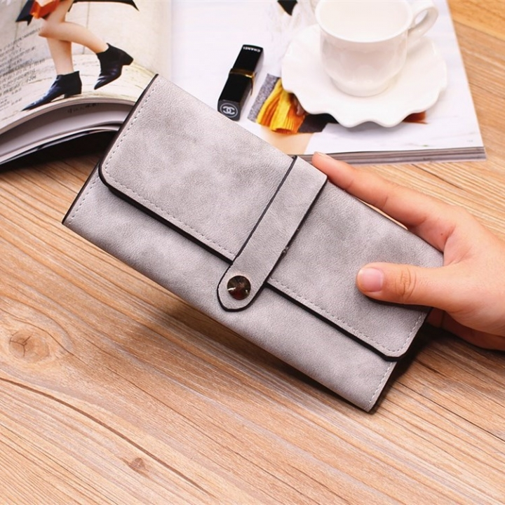 Ms Wallet Long Section Female Wallet Buckle Student Wallet Campus Style gray one size
