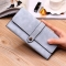 Ms Wallet Long Section Female Wallet Buckle Student Wallet Campus Style Gray blue one size