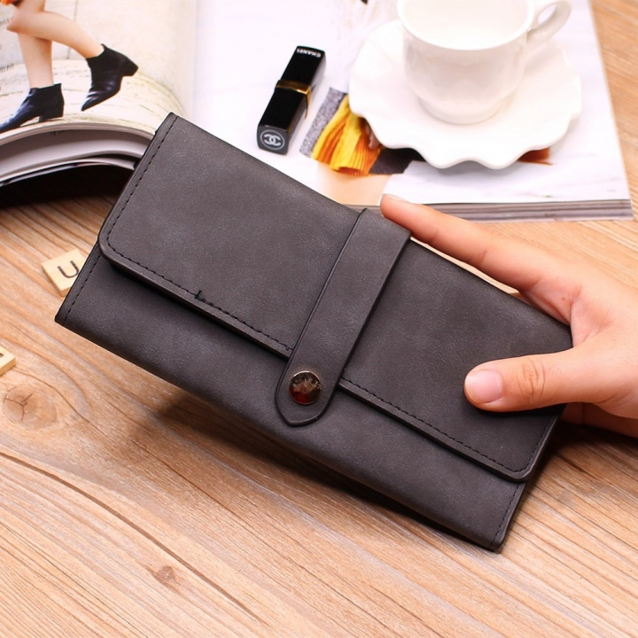 Ms Wallet Long Section Female Wallet Buckle Student Wallet Campus Style black one size