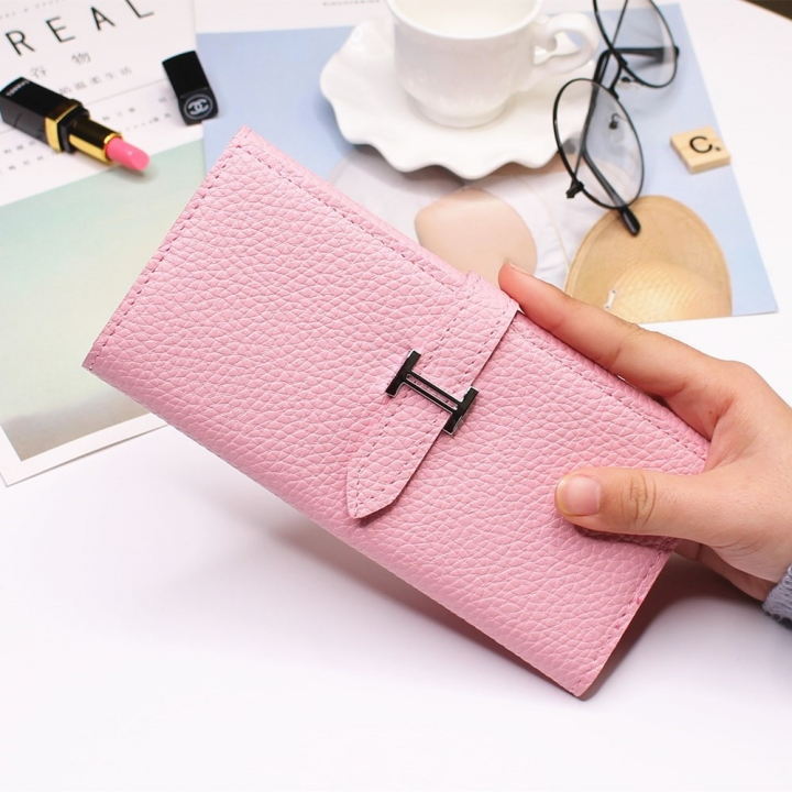 Ms Three Fold Wallet Long Section Coin Purse Fashion Wallet H Buckle Holding Bands Card Pack pink one size