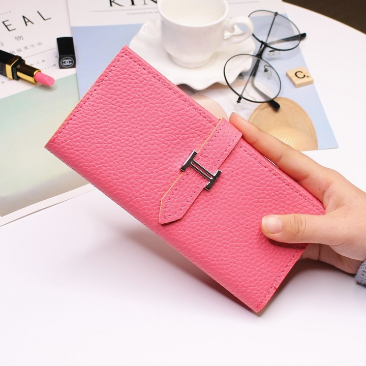 Ms Three Fold Wallet Long Section Coin Purse Fashion Wallet H Buckle Holding Bands Card Pack watermelon red one size