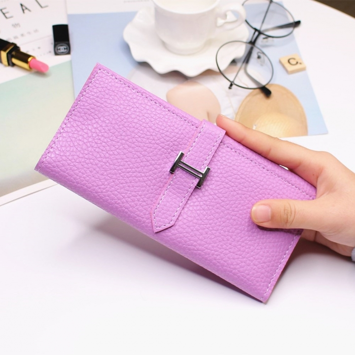 Ms Three Fold Wallet Long Section Coin Purse Fashion Wallet H Buckle Holding Bands Card Pack ligth purple one size
