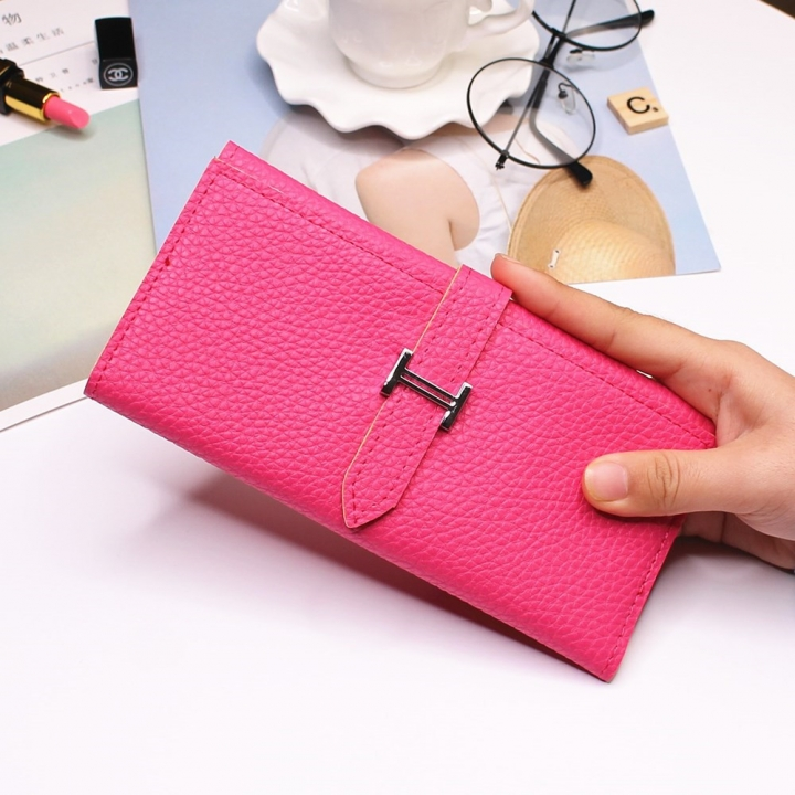 Ms Three Fold Wallet Long Section Coin Purse Fashion Wallet H Buckle Holding Bands Card Pack rose red one size
