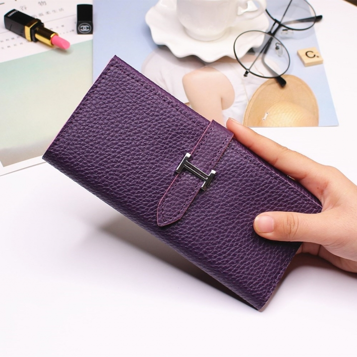 Ms Three Fold Wallet Long Section Coin Purse Fashion Wallet H Buckle Holding Bands Card Pack purple one size