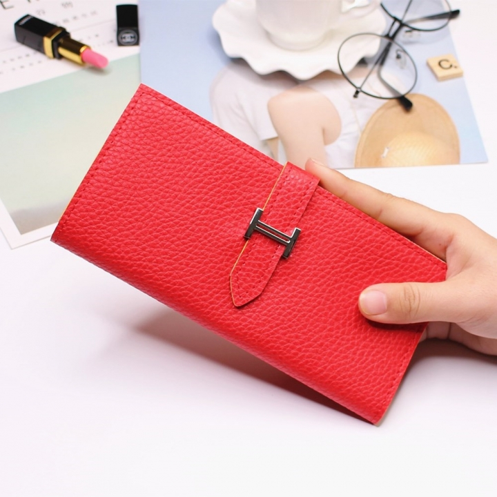 Ms Three Fold Wallet Long Section Coin Purse Fashion Wallet H Buckle Holding Bands Card Pack red one size
