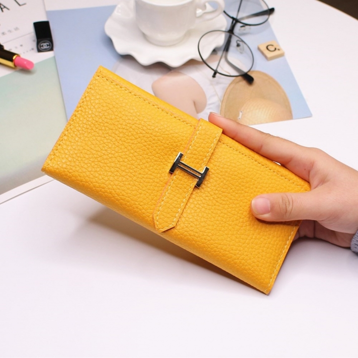 Ms Three Fold Wallet Long Section Coin Purse Fashion Wallet H Buckle Holding Bands Card Pack yellow one size