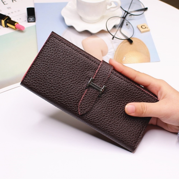Ms Three Fold Wallet Long Section Coin Purse Fashion Wallet H Buckle Holding Bands Card Pack dark coffee one size
