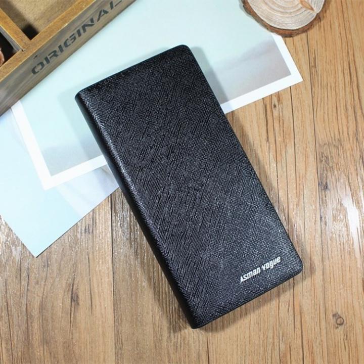 Men Long Section Zipper Wallet Fashion Multi-card bit Hand Bag Business Leisure Mobile Phone Bag Fine lines black one size