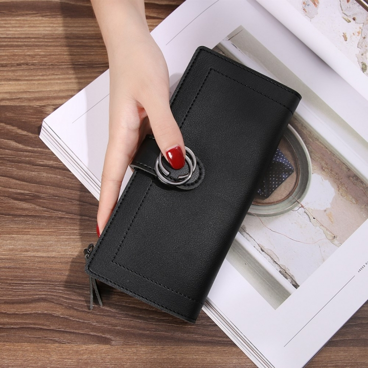 The New Ms Wallet Long Section Fashion Hand bag Zipper Buckle Leisure Wallet Card Pack black one size