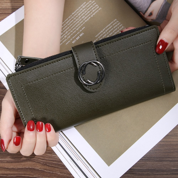 The New Ms Wallet Long Section Fashion Hand bag Zipper Buckle Leisure Wallet Card Pack dark blue one size
