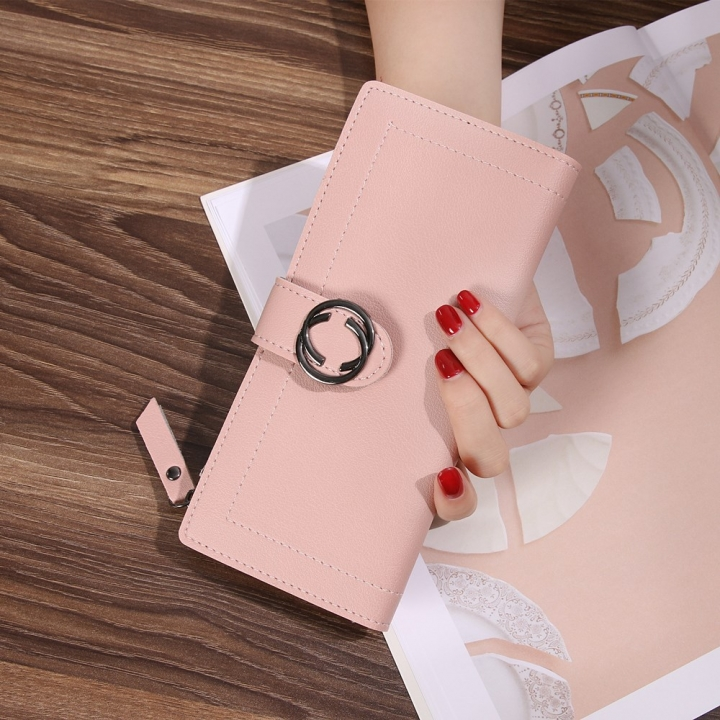 The New Ms Wallet Long Section Fashion Hand bag Zipper Buckle Leisure Wallet Card Pack ligth pink one size