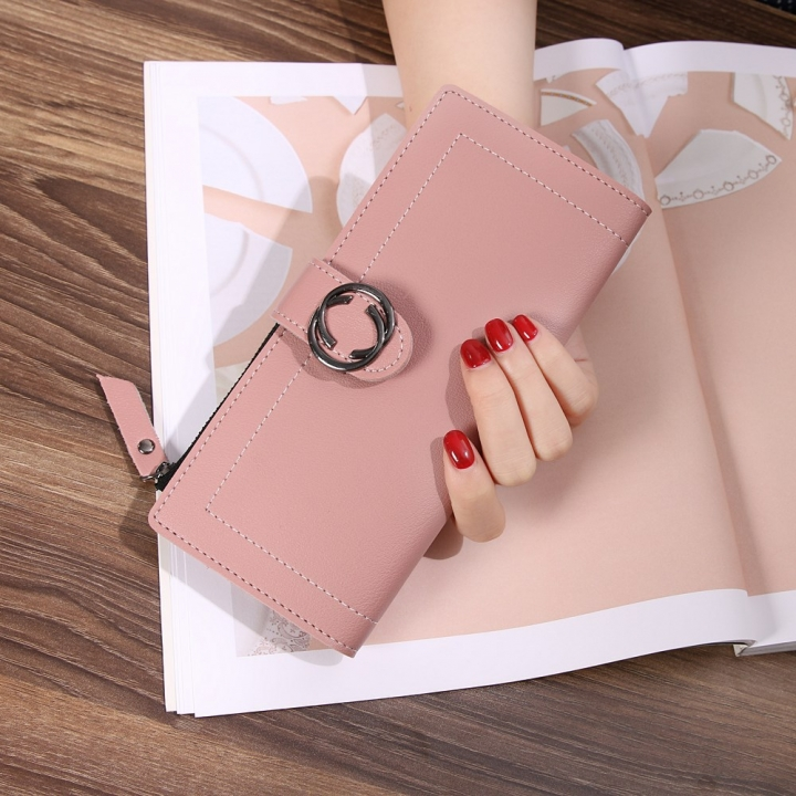 The New Ms Wallet Long Section Fashion Hand bag Zipper Buckle Leisure Wallet Card Pack bean paste one size