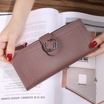 The New Ms Wallet Long Section Fashion Hand bag Zipper Buckle Leisure Wallet Card Pack dark pink one size