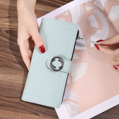 The New Ms Wallet Long Section Fashion Hand bag Zipper Buckle Leisure Wallet Card Pack ligth blue one size