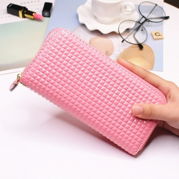 Ms Long Section Single Pull Wallet fashion Female Wallet TrendStudent Wallet pink one size
