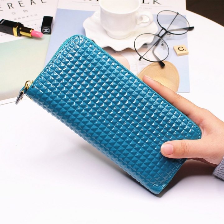 Ms Long Section Single Pull Wallet fashion Female Wallet TrendStudent Wallet blue one size