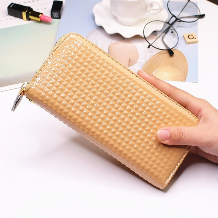 Ms Long Section Single Pull Wallet fashion Female Wallet TrendStudent Wallet apricot one size