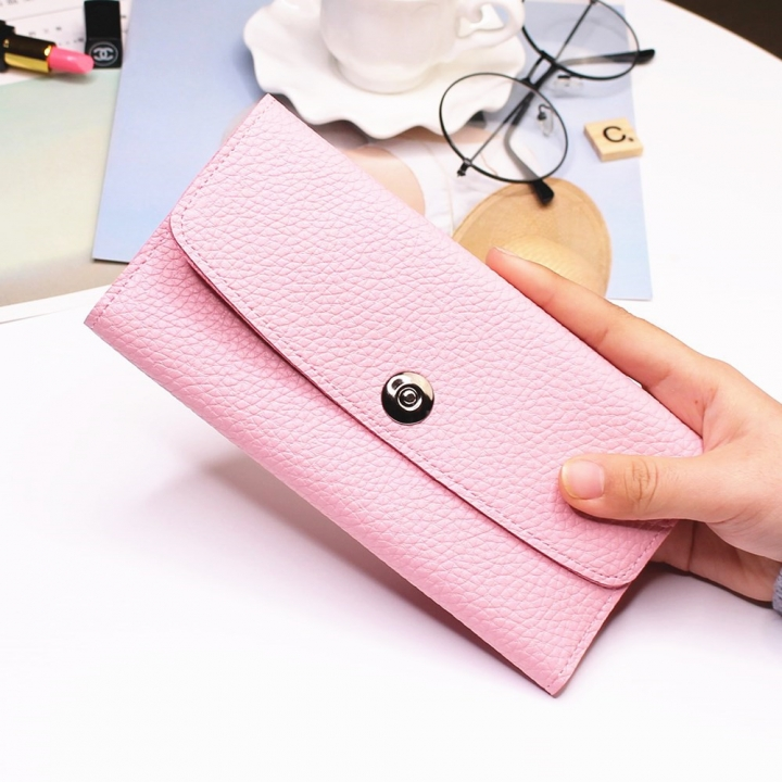 Female Student Simple Long Section Thin Section Wallet Buckle Fashion Coin Purse Hand Bag pink one size