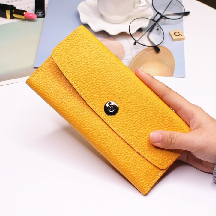 Female Student Simple Long Section Thin Section Wallet Buckle Fashion Coin Purse Hand Bag yellow one size
