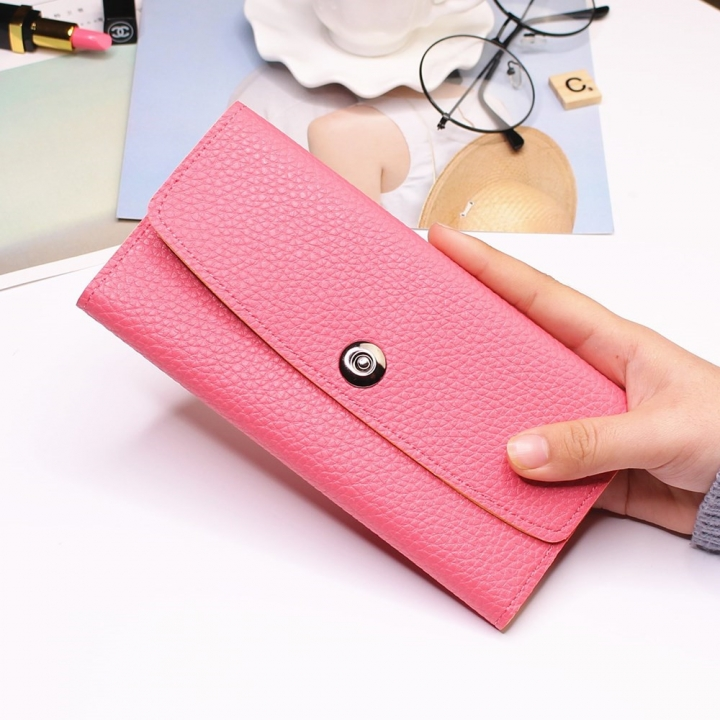 Female Student Simple Long Section Thin Section Wallet Buckle Fashion Coin Purse Hand Bag watermelon red one size