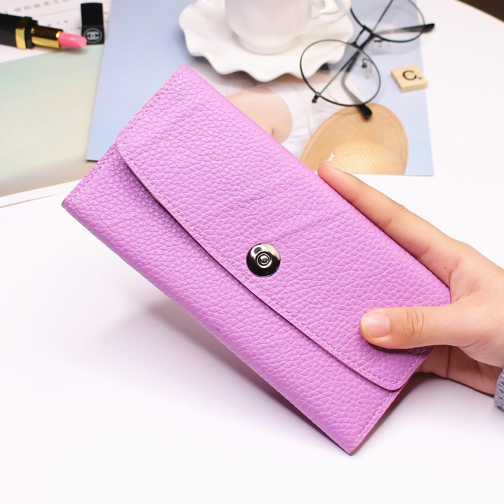 Female Student Simple Long Section Thin Section Wallet Buckle Fashion Coin Purse Hand Bag ligth purple one size
