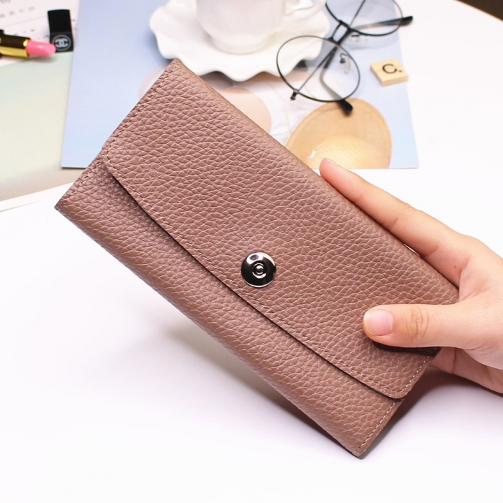 Female Student Simple Long Section Thin Section Wallet Buckle Fashion Coin Purse Hand Bag brown one size