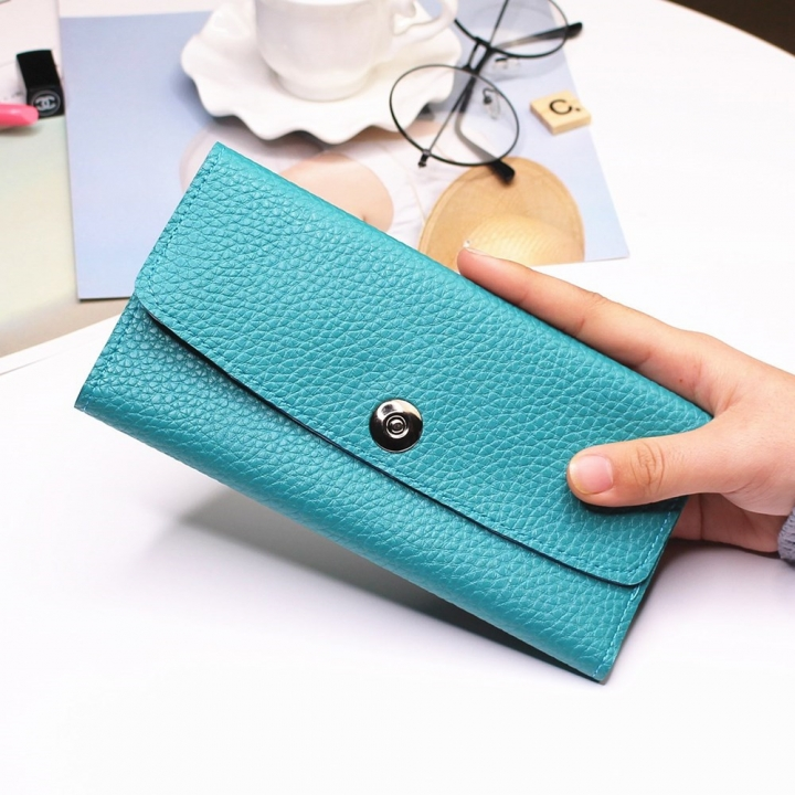 Female Student Simple Long Section Thin Section Wallet Buckle Fashion Coin Purse Hand Bag sky blue one size